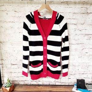 Roxy Striped Hooded Cardigan